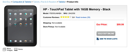 HP TouchPad sold-out - inLook.vn