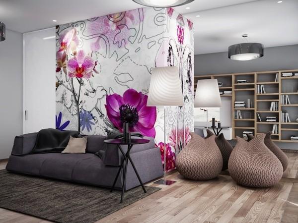 Gợi ý trang trí tường nhà với họa tiết hoa 1
