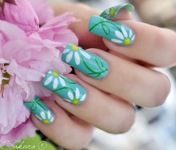 Vẽ móng hoa cúc thanh nhã tinh tế
