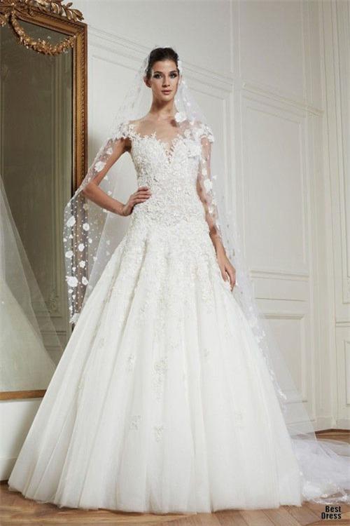 10 váy cưới lý tưởng cho nàng ngực nhỏ, eo to - 10