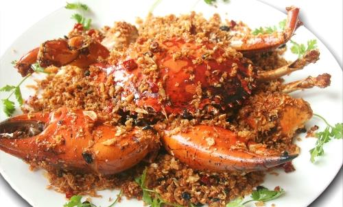 Món ăn cua rang tỏi ớt hấp dẫn.