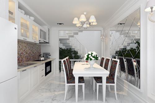 Phòng ăn và bếp được đưa lên tầng lửng, nơi đây không một vách ngăn, không một sự chắn tầm nhìn mà cứ thế tầm mắt tha hồ ngắm lấy xung quanh... Không gian dường như rộng hơn 3m vốn có của nó bởi những thủ pháp vay mượn không gian.