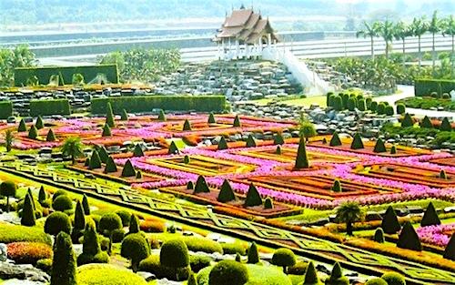 Vườn nhiệt đới Nong Nooch (Thái Lan), còn được biết đến như là công viên hoa lan với 670 loài hoa lan khác nhau. Tại đây tập hợp 20.000 loài cây nhiệt đới.