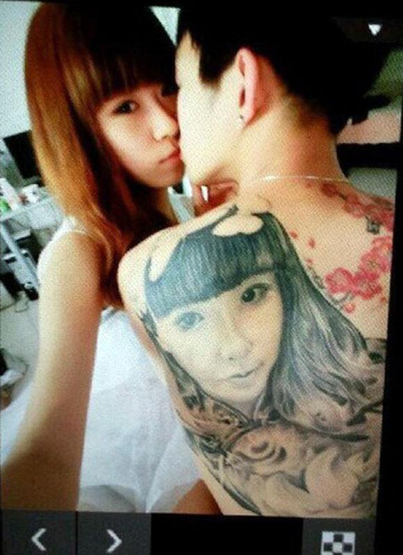 Cuồng yêu chàng trai xăm hình bạn gái trên lưng
